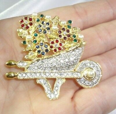 "Pin Lovely Amazing Outstanding Features ""roman"" Designer Sparkly Rhinestone Wheelbarrow Flowers Brooch"