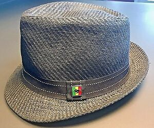 Peter-Grimm-True-Character-Black-Woven-Paper-Fedora-Hat-African-One-Size-EUC