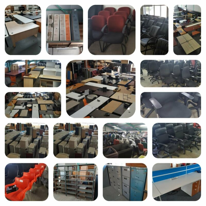 PRE-OWNED OFFICE DESKS AND CHAIRS , CABINETS, BOOKSHELVES ,RECEPTION , STEEL Pro