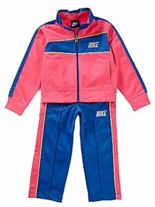 Nike Toddler Girls 2 Piece Pink /& Blue Jacket /& Pants Set Tricot Track Suit