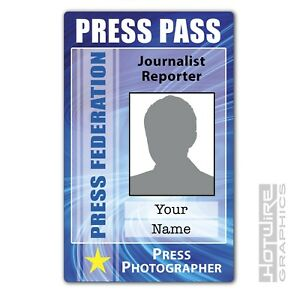 Details about PERSONALISED Printed Novelty ID- PRESS PASS Photographer  Reporter Card Media