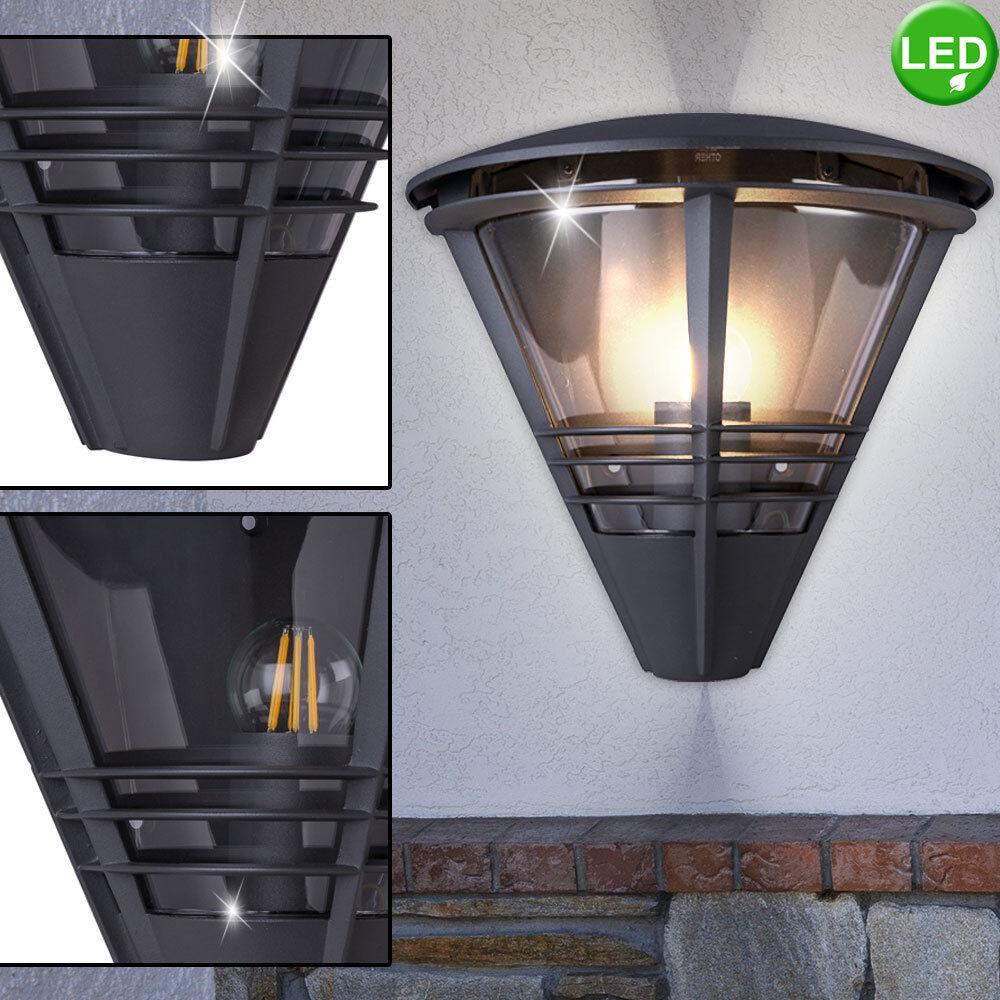 Exterior porche luz iluminación aluminio vintage filamento jardín lámpara de parojo LED