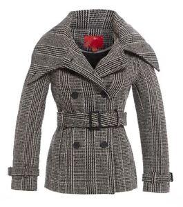 NEW-WOMENS-COAT-SIZE-12-JACKET-8-10-14-LADIES-CHECK-Black-White-Coats