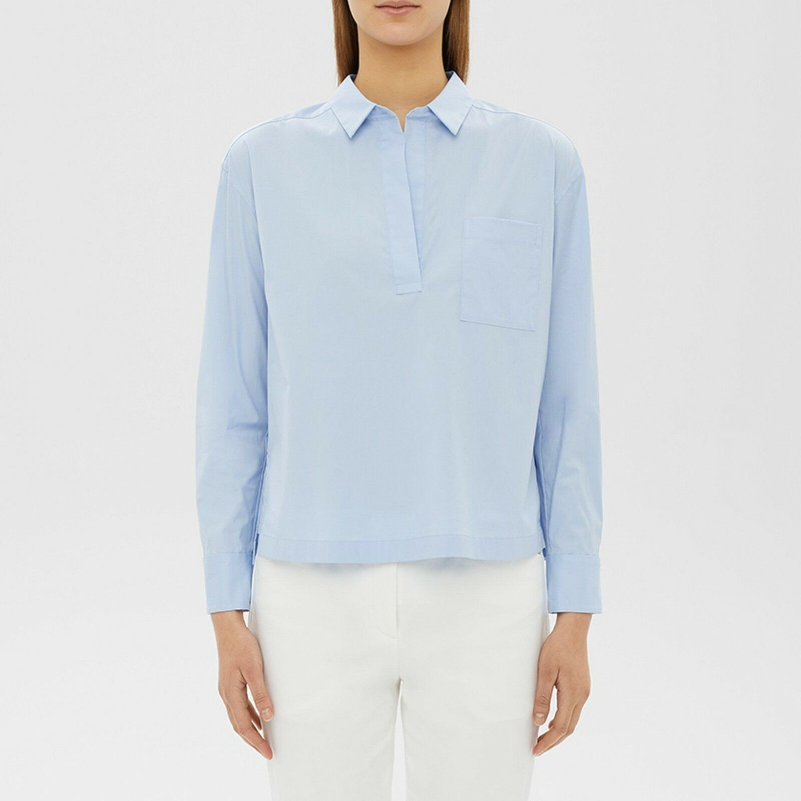 THEORY Larkspur Blau Cahliway Shirting Wide Placket Popover Top Sz L NWT
