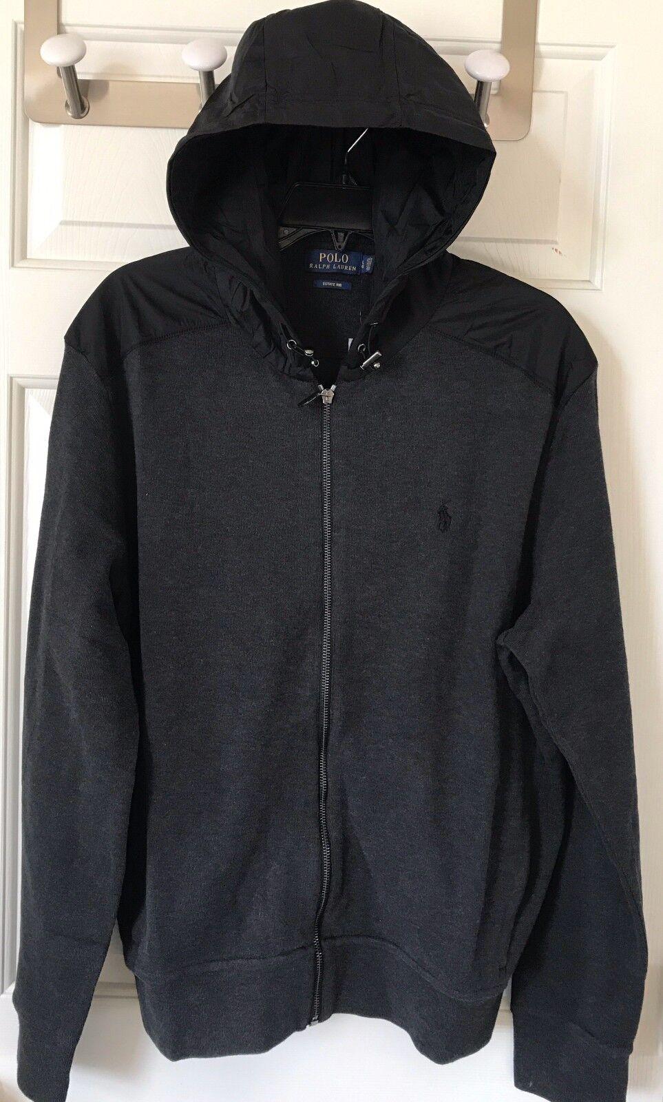 99 NWT  Herren Polo Ralph Lauren Estate Rib Full Zip Hoodie Dark Granite grau M L