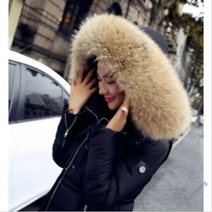 New Women Big Fur Collar Hooded Thick Winter Down Warm Slim Jacket ...
