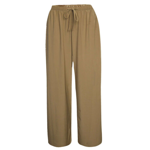 New Ladies Women Pull On ITY Jersey Wide Leg Casual Trousers Sizes UK S-XXL