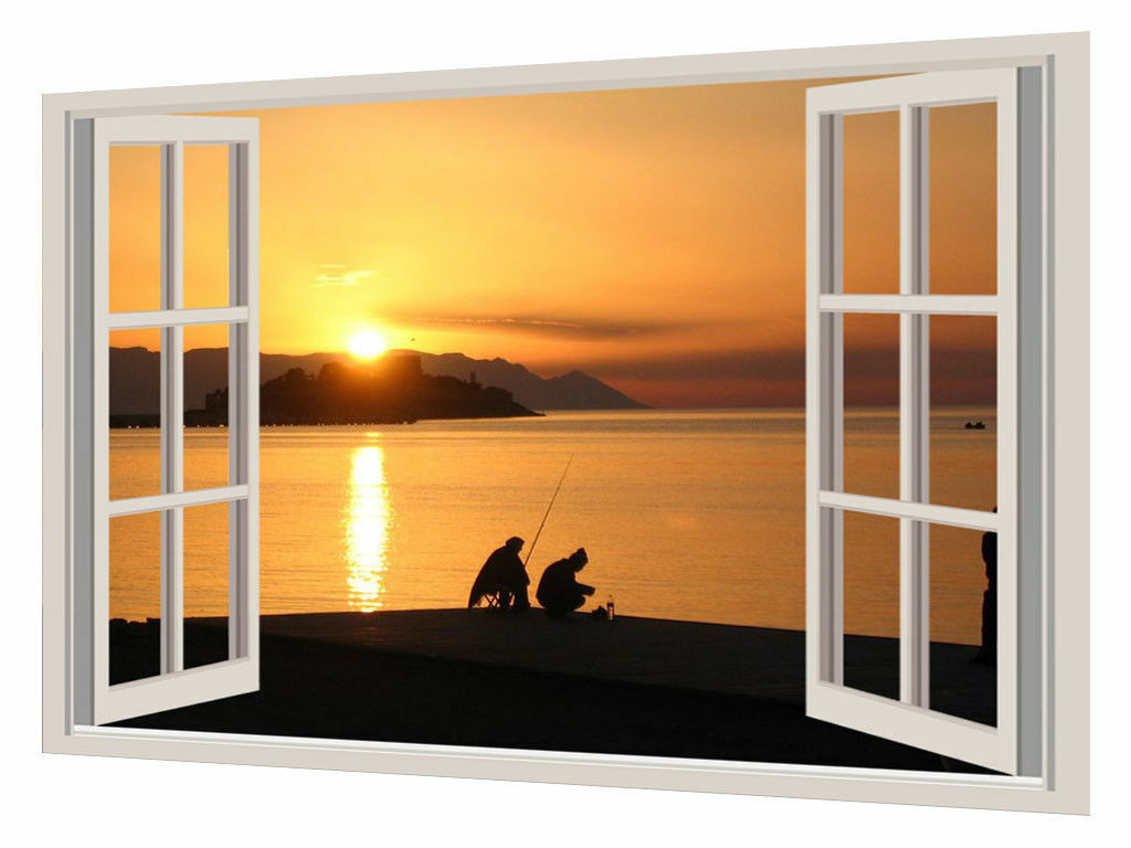 SUNSET FISHERS WINDOW EFFECT PHOTOS PRINT ON ON ON FRAMED CANVAS WALL ART 162d11