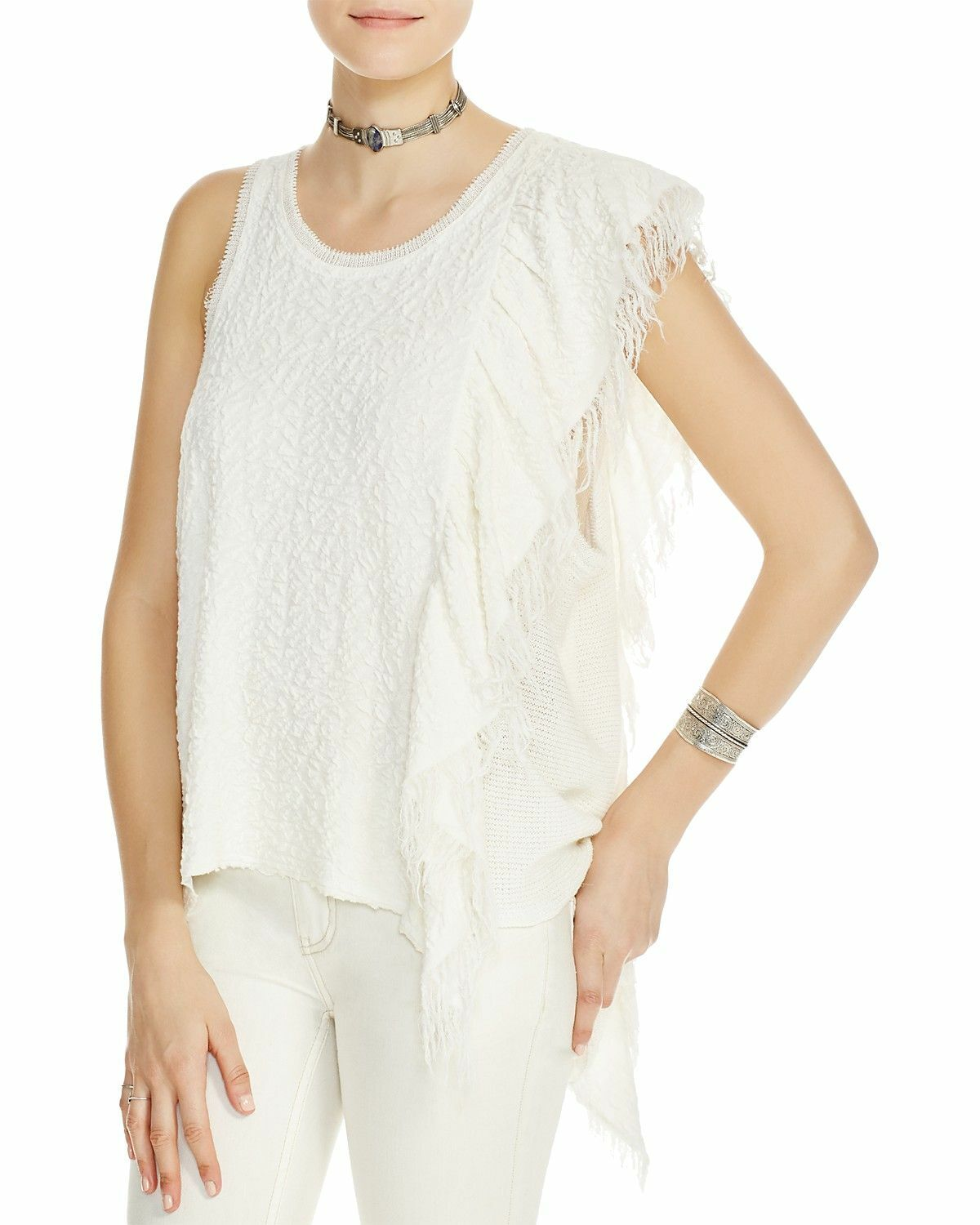 Free People Womens Asymmetrical Fringed Knit Top Blouse Small S Ivory White