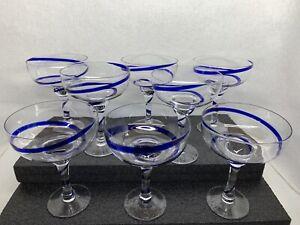 Set-of-8-Pier-1-Blue-Swirline-Margarita-Glasses-16oz-Swirl-Ribbon-Discontinued