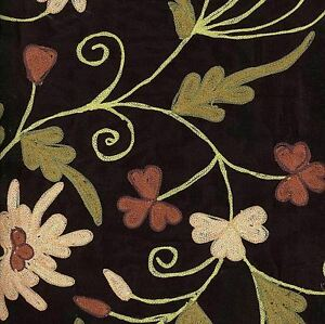 1 Yard 100% Silk BLACK Embroidered Jacobean Floral Home Decor Drapery Fabric