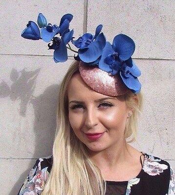 Or Rose Bleu Royal Sequin Orchidée Fleur Fascinator chapeau Pince à cheveux courses 3083