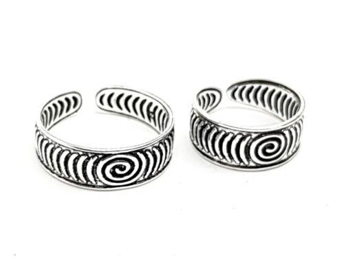 Toe Ring Spiral Antique 925 Silver 2 Sizes Adjustable Toe Ring Boho Ethnic