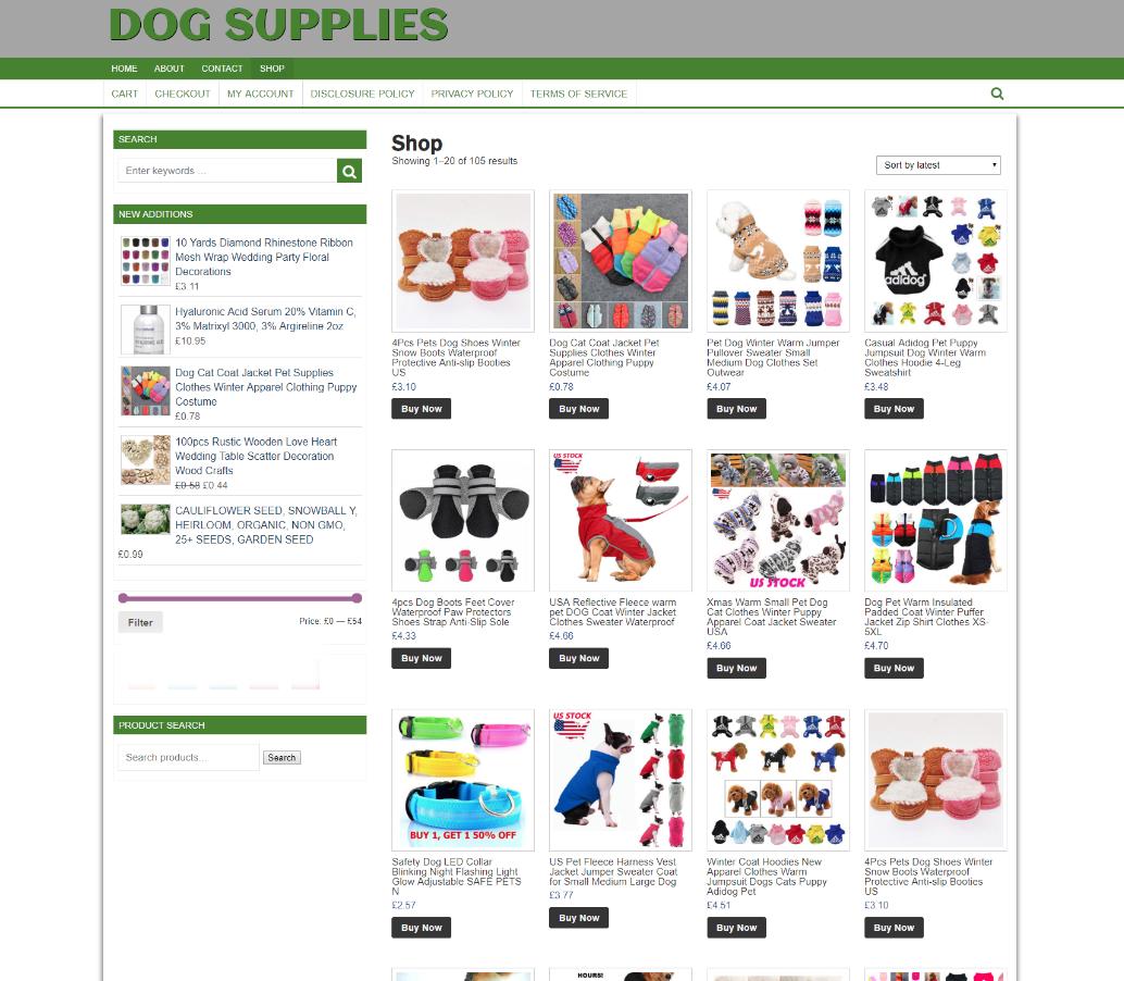 FULLY STOCKED DOG SUPPLIES UK eCOMMERCE WEBSITE - 1 Years Hosting