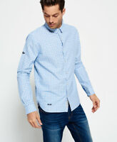 New Mens Superdry Modern Classic Shirt Sky Gingham