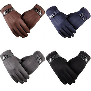 MENS-TOUCH-SCREEN-LEATHER-GLOVES-THERMAL-FLEECE-LINED-BLACK-DRIVING-WINTER-GIFT