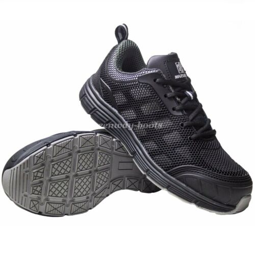 Mens Ultra Lightweight Steel Toe Cap Safety Work Wide Black Shoe Trainers Boots