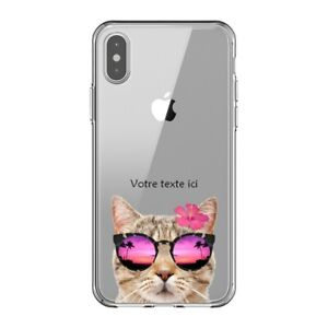 Coque Iphone X et XS chat lunettes personnalisee