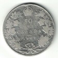 CANADA 1907 50 CENTS HALF DOLLAR KING EDWARD VII STERLING SILVER CANADIAN COIN