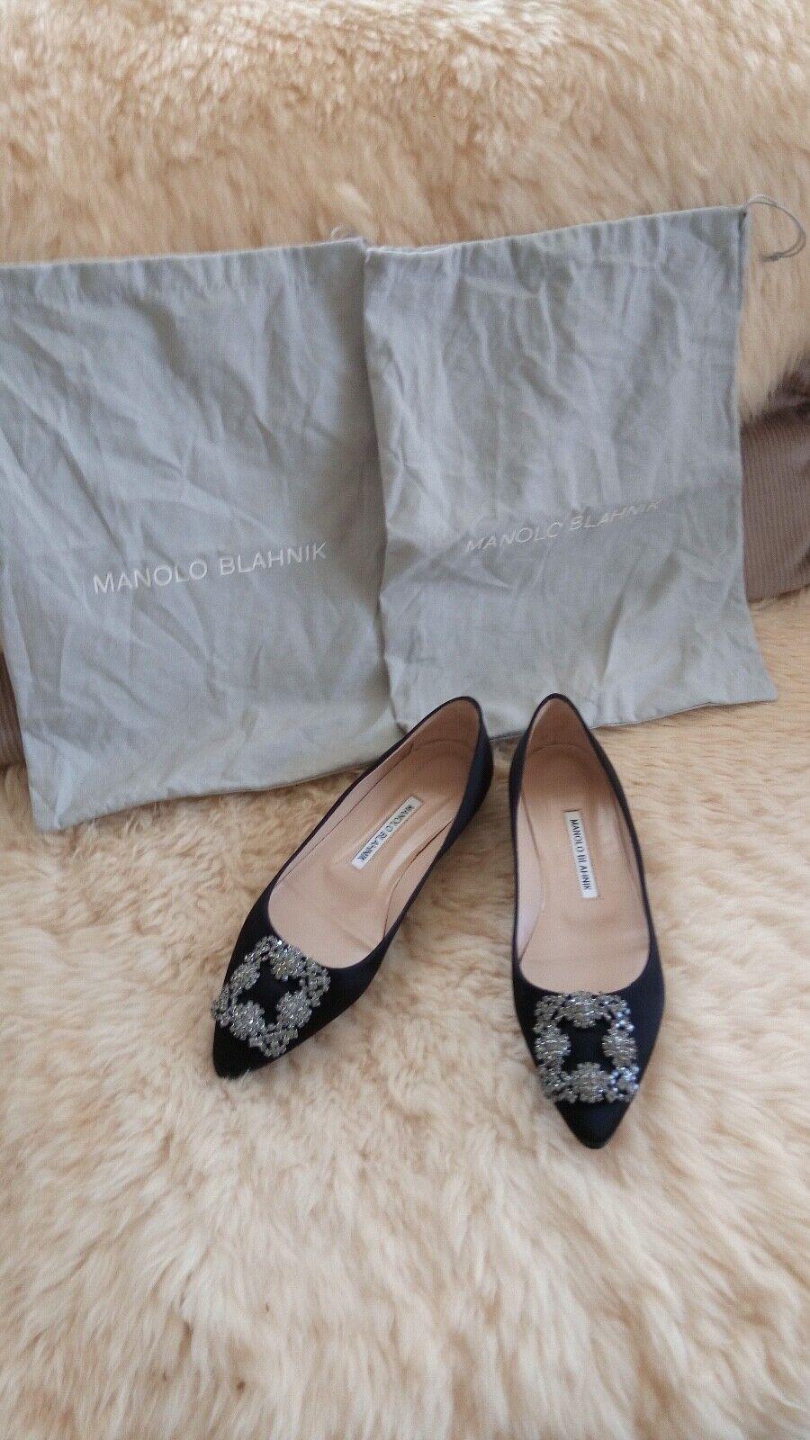Manolo  Blahnik Satin Fabric scarpe Hangisi Rhistone Buckle Dimensione 37  marchi di stilisti economici