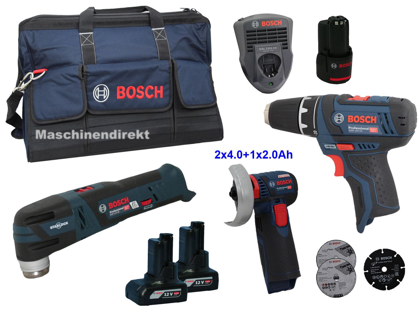 Bosch Akku Winkelschleifer GWS 12V-76 + Akku Bohrschrauber GSR 12V-15 + GOP12-28