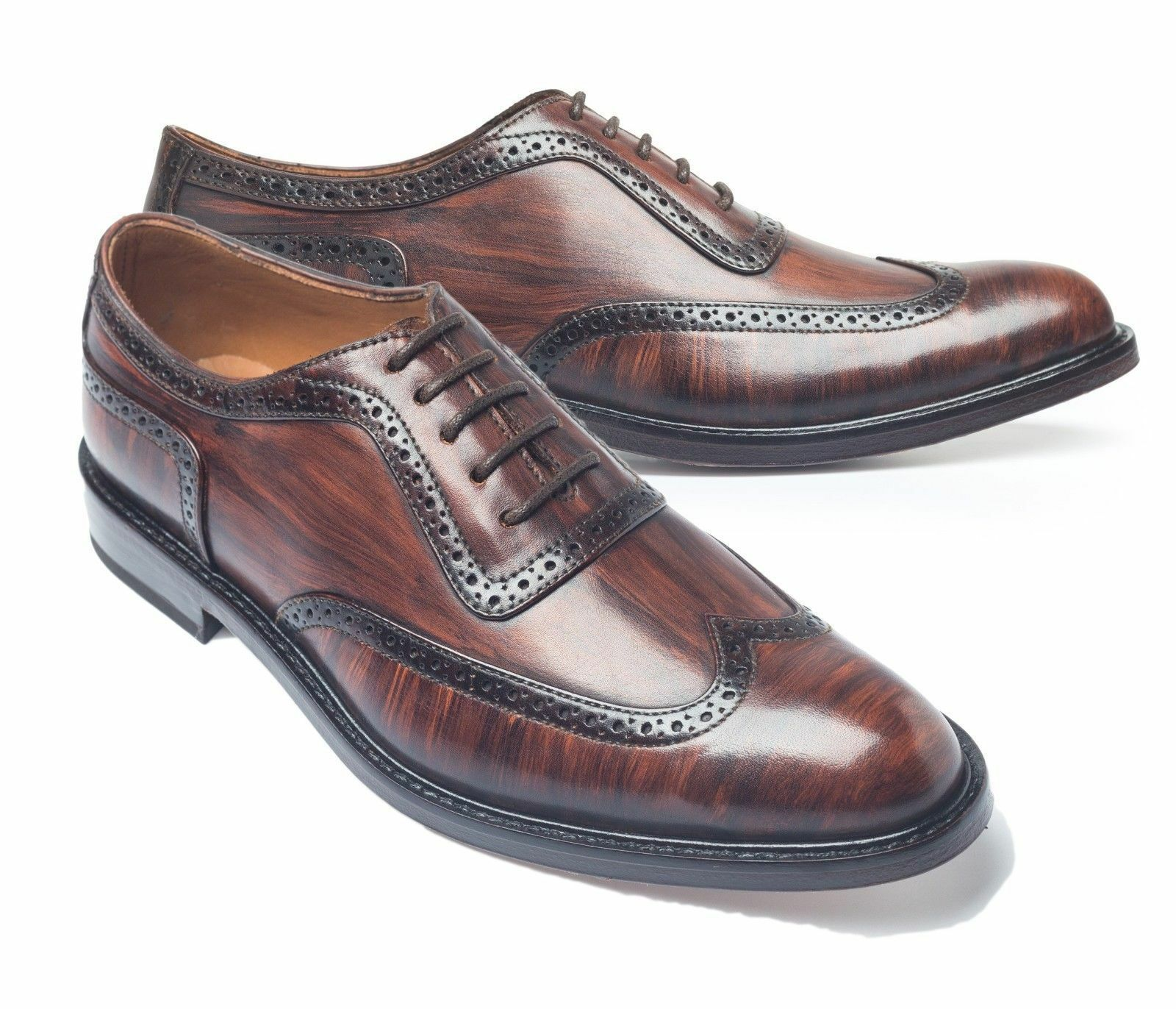 Handmade Wing Tip Oxford Derby Derby Derby Pelle Scarpe Uomo, Hand Stitched Two Tone Formal 594d3a