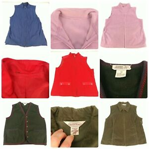 Lot 5 Women's Size Large Outerwear Vests Fleece Quilted Liner Jacket Green Red