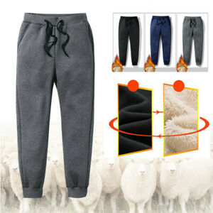 Mens-Winter-Casual-Fleece-Lined-Pants-Thick-Warm-Loose-Long-Outdoor-Trousers