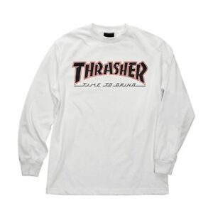Independent-x-Thrasher-TIME-TO-GRIND-LONG-SLEEVE-Skateboard-T-Shirt-WHITE-XL