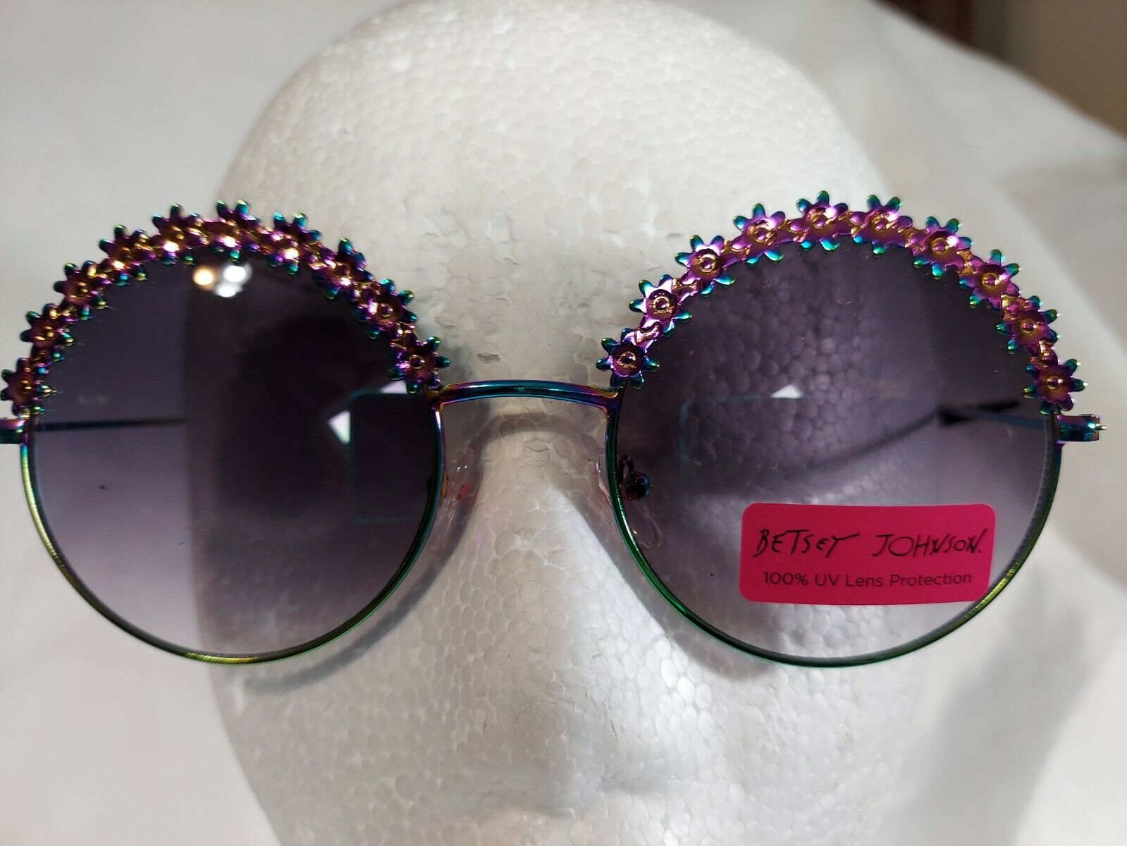NWT Betsey Johnson Round Floral with Holographic Trim Sunglasses