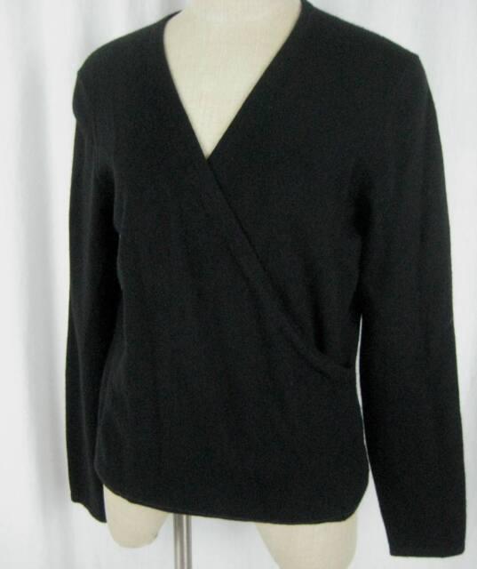 Saks Fifth Ave Black Cashmere Sweater Size L Faux Wrap Neck Line