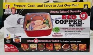 Red Copper Non Stick Square Ceramic Cookware 5 Piece Set