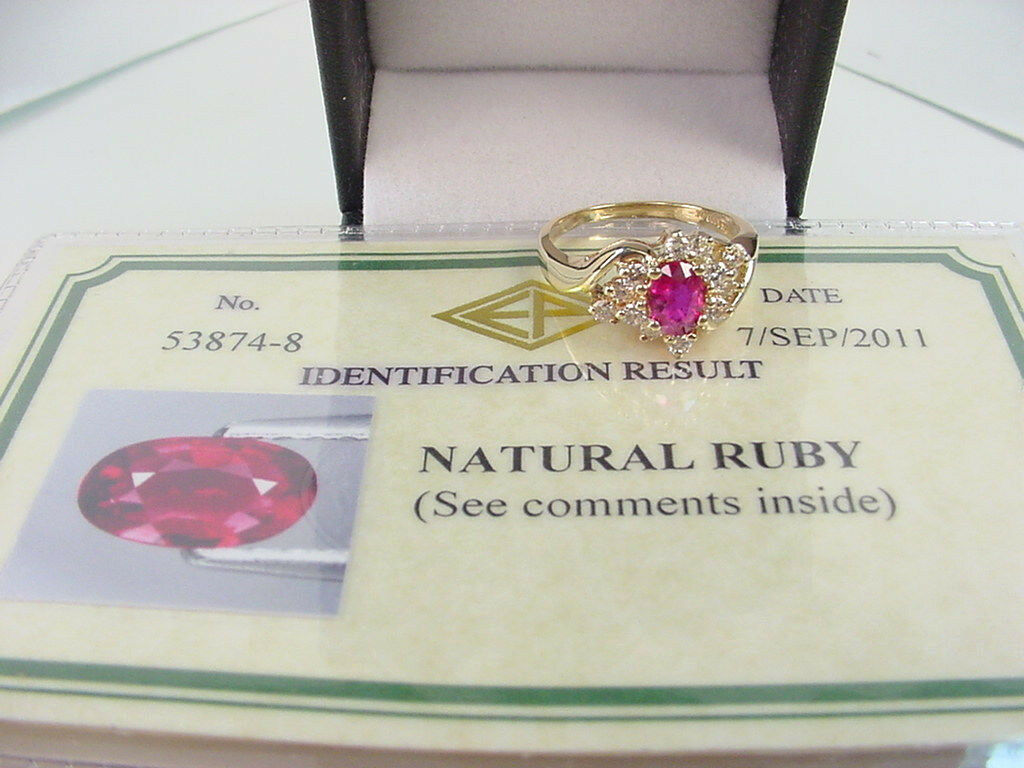 FINE COLOR NATURAL RUBY CERTIFICATE NO HEAT .55 CT w  .48 TCW DIA'S 14K gold
