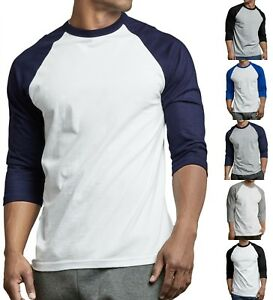 TOP-PRO-Men-039-s-Cotton-3-4-Sleeve-Raglan-Baseball-Tee-T-Shirt