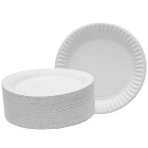 200-Blanc-Jetables-23cm-22-9cm-papier-Barbecue-Buffet-pique-nique-Marriage