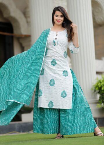 Women Kurta Kurti with Palazzo Dupatta Indian Dress Set Ethnic Top Tunic Bottom