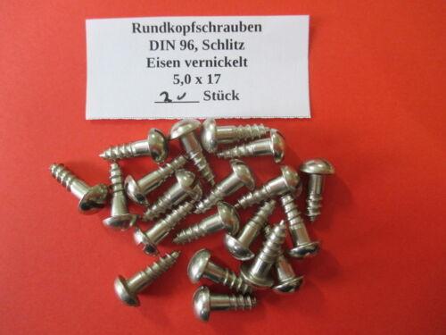 Holzschrauben 5,0 x 17 mm Rundkopf DIN 96 Eisen vernickelt 20,50,100 Stück