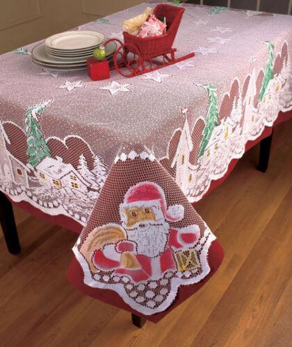 Lace Tablecloth Christmas Tree Church Santa Village Stars Home Decor