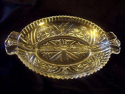 VINTAGE OVAL GLASS DEVIDED RELISH DISH WITH HANDLES - SAW TOOTH RIM - PRETTY!!