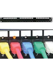 24 Port RJ45 Cat5e Cat-5e 110 Type Network LAN Patch Panel w/ LED 1U Rack Mount