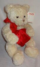 "Zales Valentine's Day Gift Teddy Bear Heart Compartment Make-A-Wish Cream 12"""