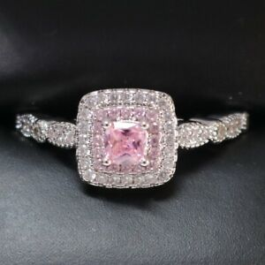 Sparkling-Princess-Pink-Sapphire-Ring-Women-Jewelry-14K-White-Gold-Plated