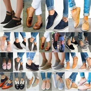 Women-Slip-On-Flat-Sneakers-Brogues-Oxfords-Loafers-Casual-Sports-Trainers-Shoes