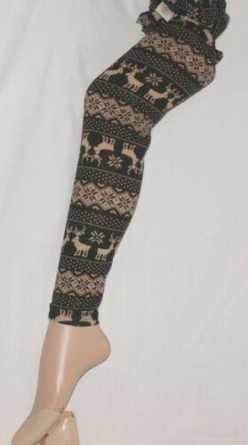 Small to Medium Brown Reindeer /& Snowflake Winter Pattern Leggings by Flirt