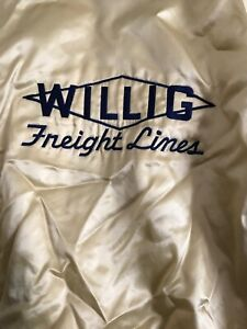 VTG-Willig-Freight-Satin-Employee-Jacket-Trucking-Big-Rig-80s-Swag-USA-made-Men