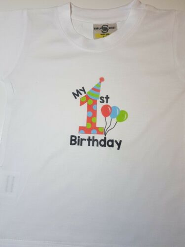 BALLOONS Cake Smash First T-shirt /&//or Bib Babys Gift My First Birthday Outfit