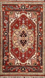 Geometric-Heriz-Serapi-Oriental-Area-Rug-For-Kitchen-Wool-Hand-Knotted-3x4-ft