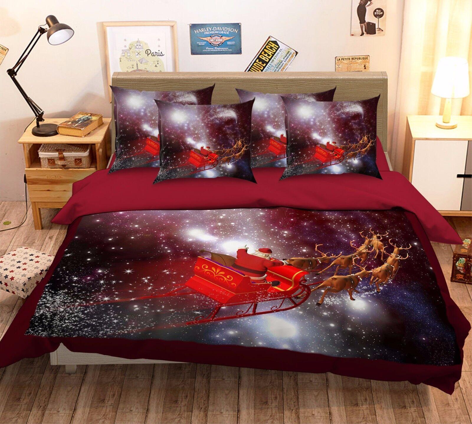 3D Santa Starry Sky 526 Bed Pillowcases Quilt Duvet Cover Set Single Queen CA