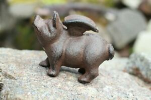 Gusseisen-Schwein-mit-Fluegeln-Garten-Deko-Figur-Metall