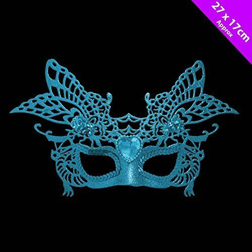 30cm Turquoise Glitter Masquerade Mask Fancy Dress Christmas Tree Decoration